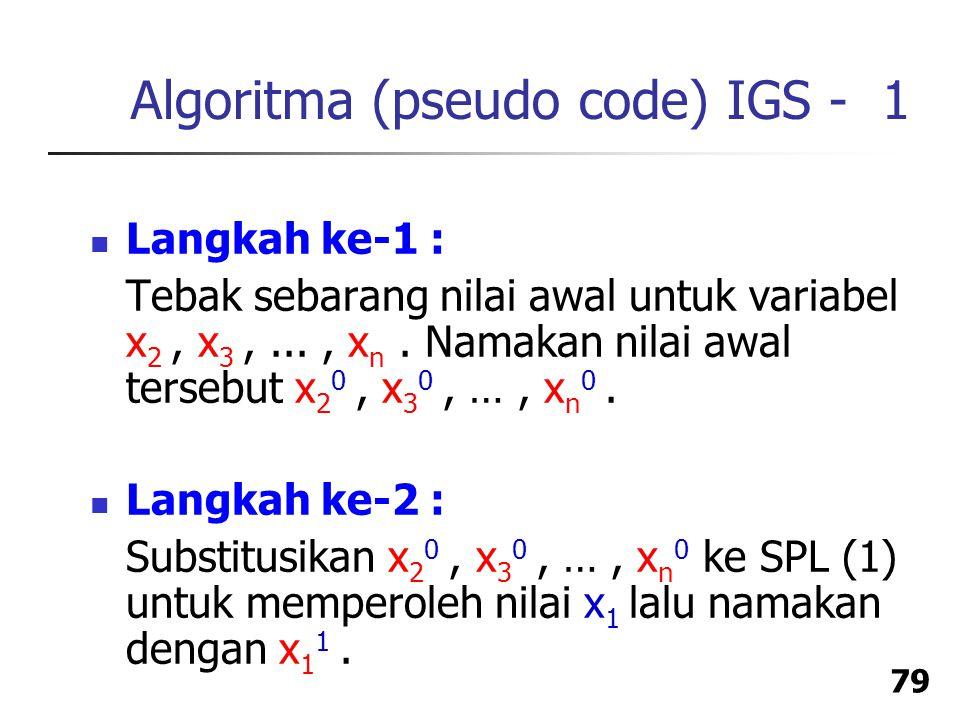 Algoritma (pseudo code) IGS - 1