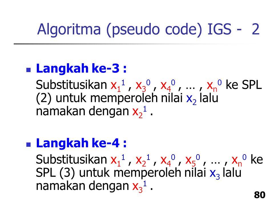 Algoritma (pseudo code) IGS - 2