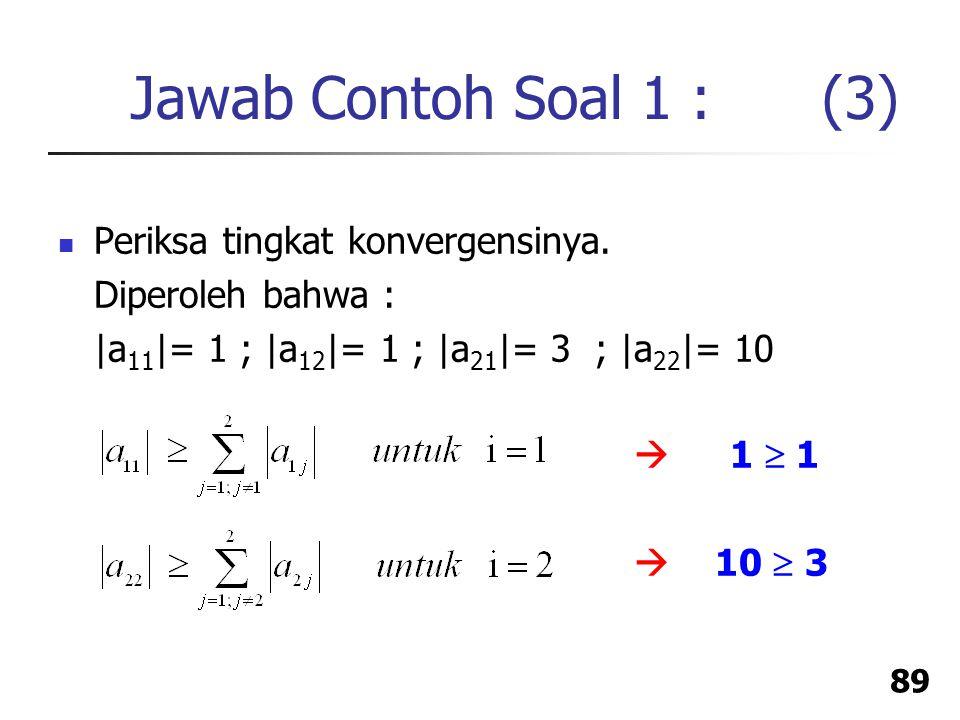 Jawab Contoh Soal 1 : (3) Periksa tingkat konvergensinya.