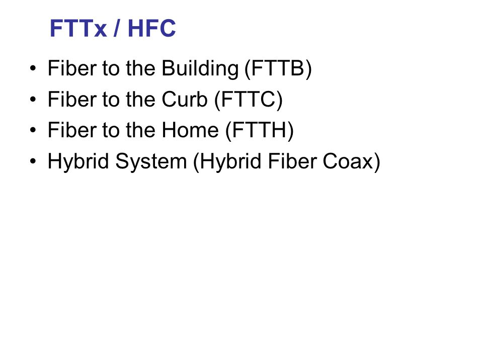 FTTx / HFC Fiber to the Building (FTTB) Fiber to the Curb (FTTC)