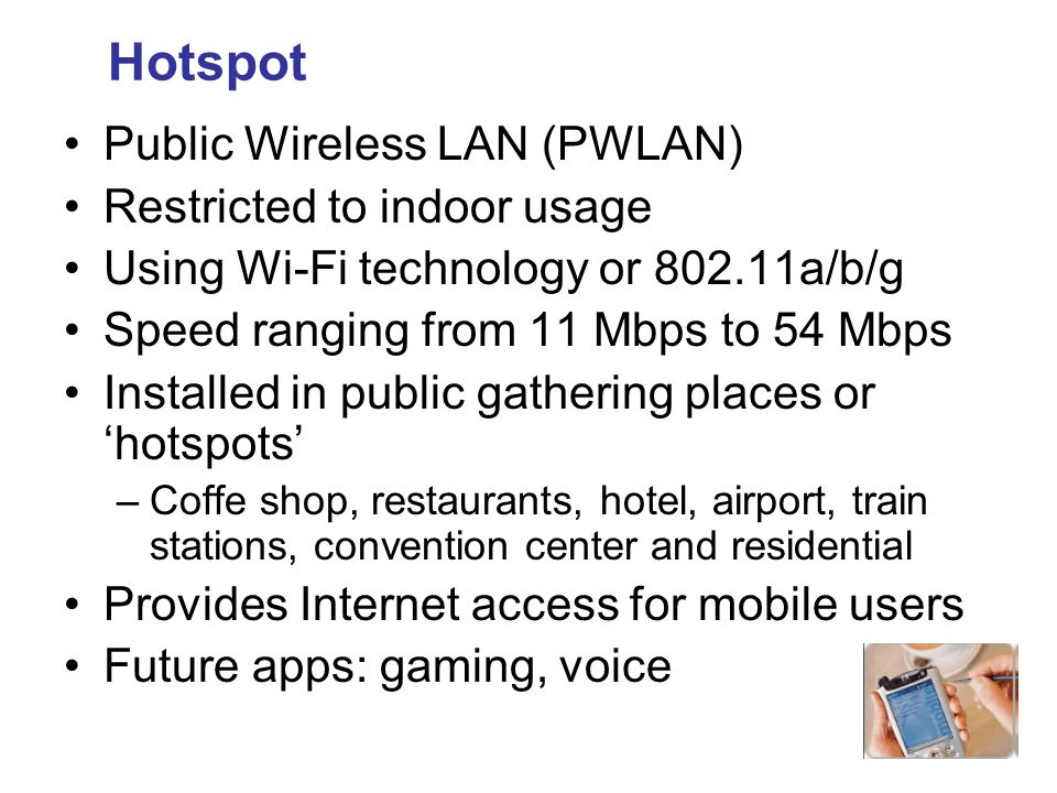 Hotspot Public Wireless LAN (PWLAN) Restricted to indoor usage