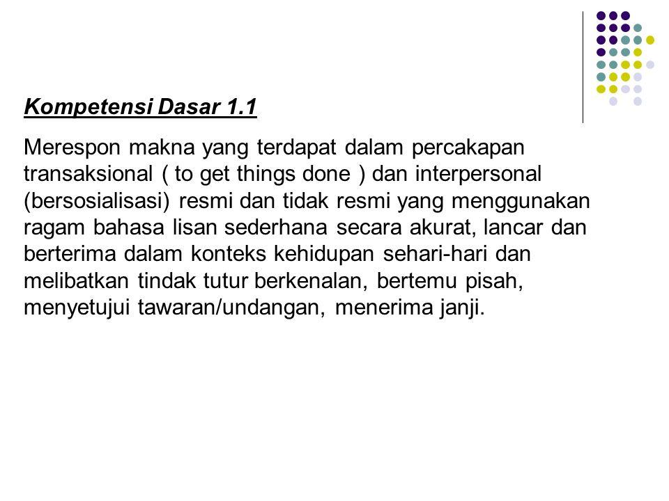 Kompetensi Dasar 1.1