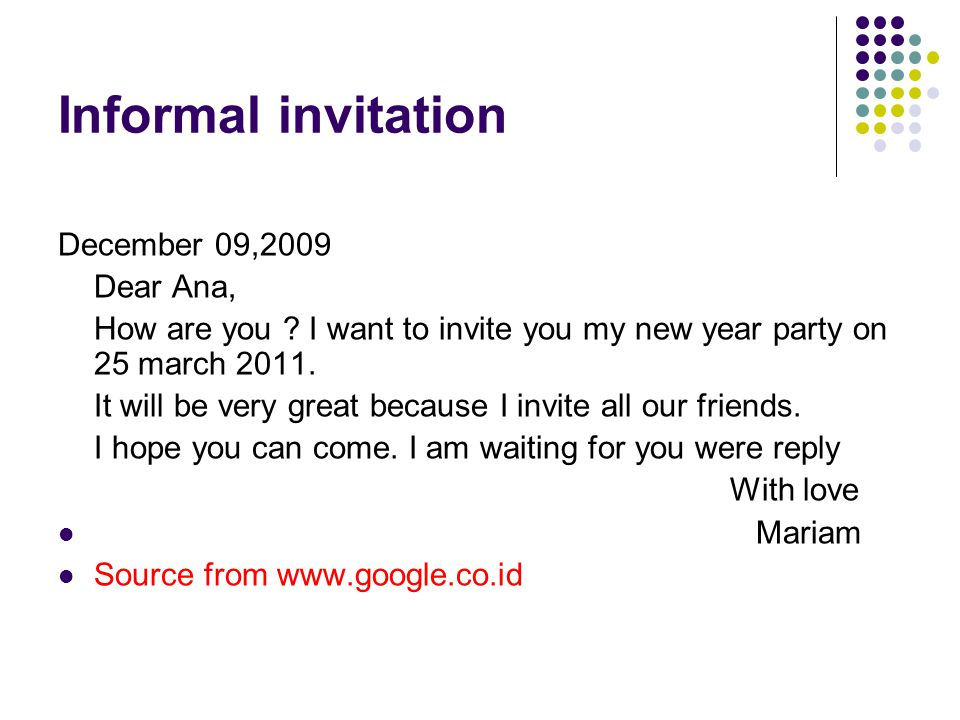 Informal invitation December 09,2009 Dear Ana,