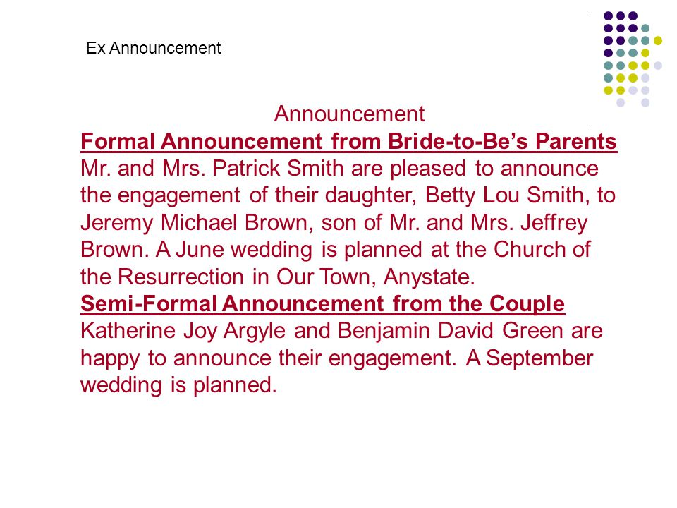 Formal Announcement from Bride-to-Be's Parents