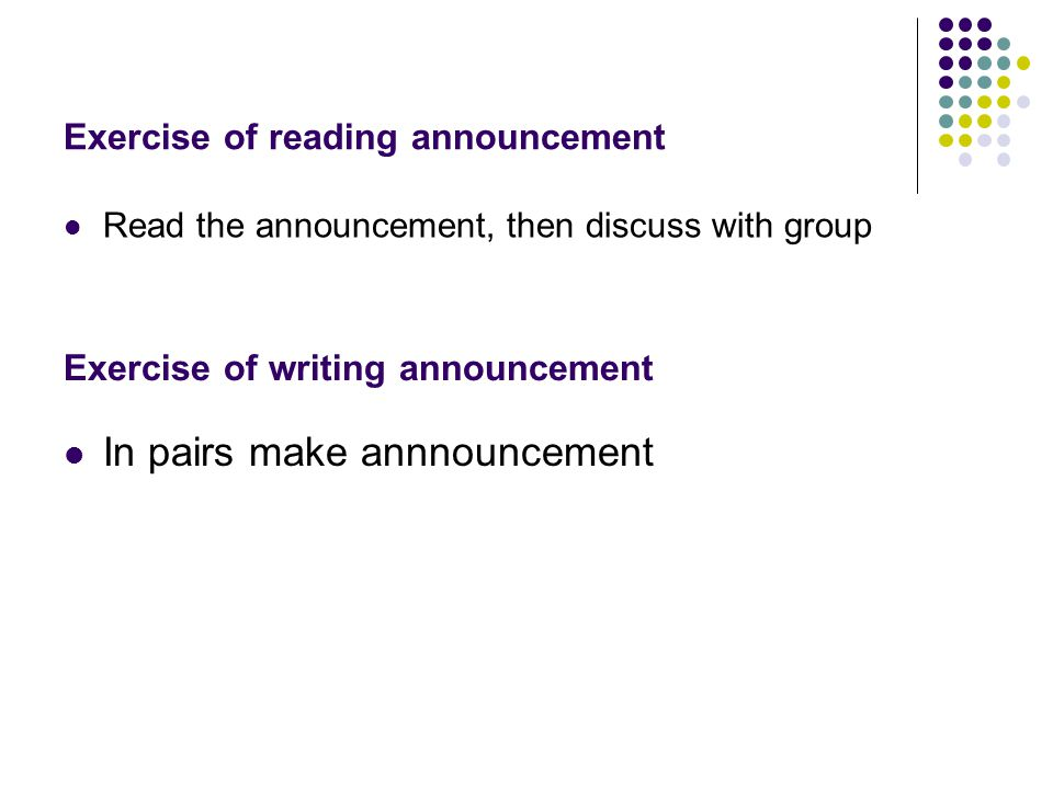 Exercise of reading announcement
