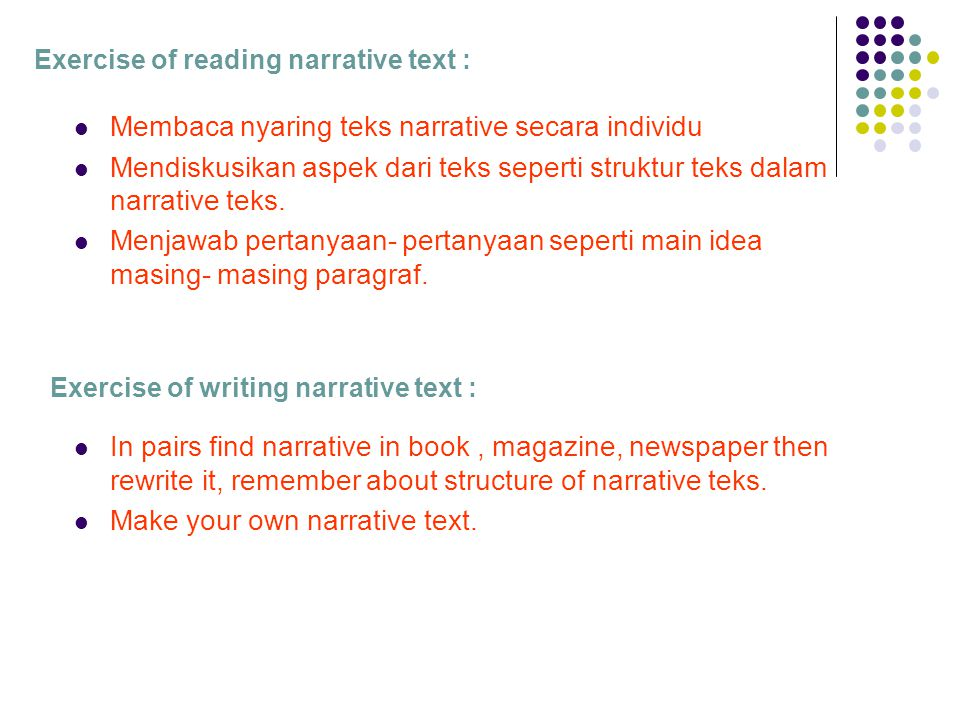 Exercise of reading narrative text :