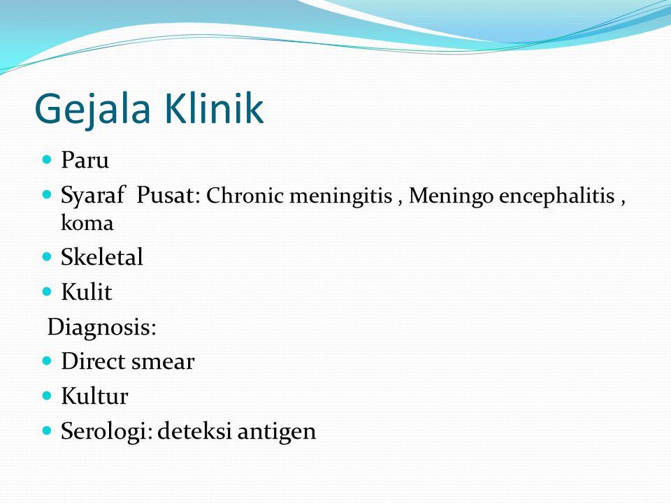 Gejala Klinik Paru. Syaraf Pusat: Chronic meningitis , Meningo encephalitis , koma. Skeletal. Kulit.