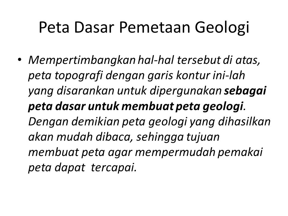 Peta Dasar Pemetaan Geologi