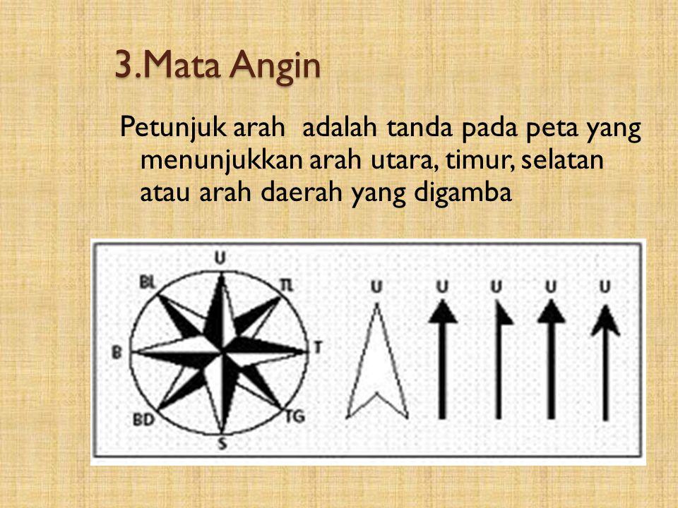 3.Mata Angin Petunjuk arah adalah tanda pada peta yang menunjukkan arah utara, timur, selatan atau arah daerah yang digamba.