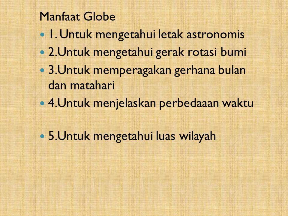 Manfaat Globe 1. Untuk mengetahui letak astronomis. 2.Untuk mengetahui gerak rotasi bumi. 3.Untuk memperagakan gerhana bulan dan matahari.