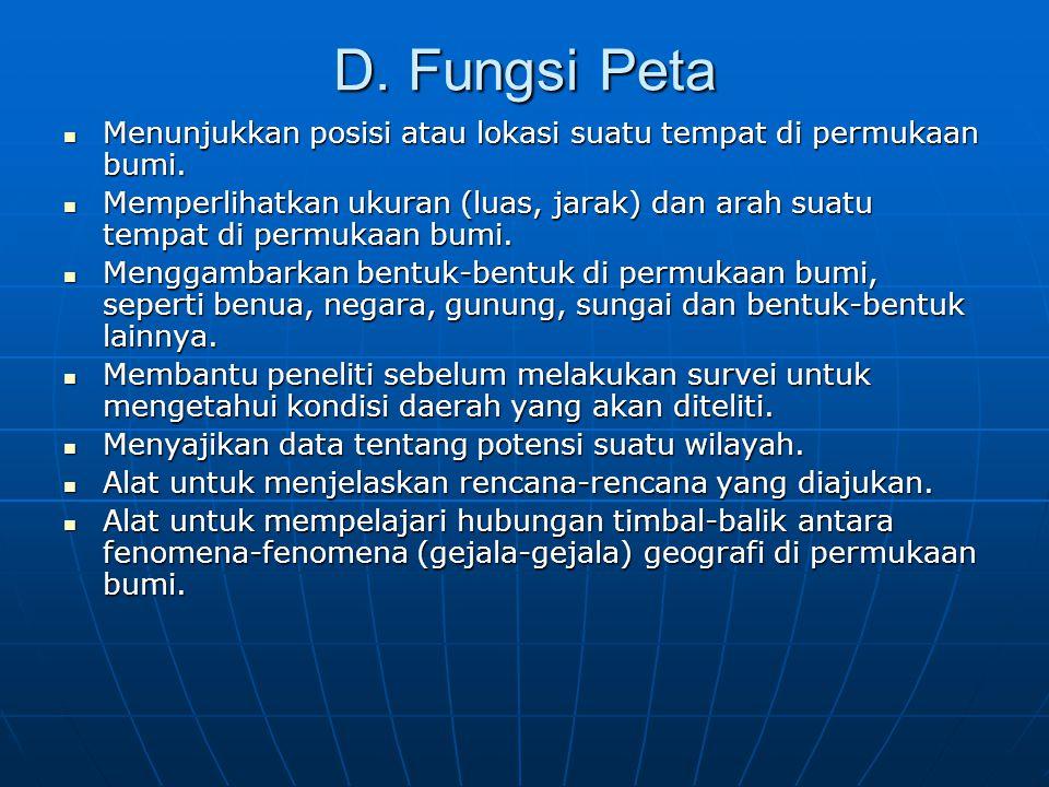 D. Fungsi Peta Menunjukkan posisi atau lokasi suatu tempat di permukaan bumi.