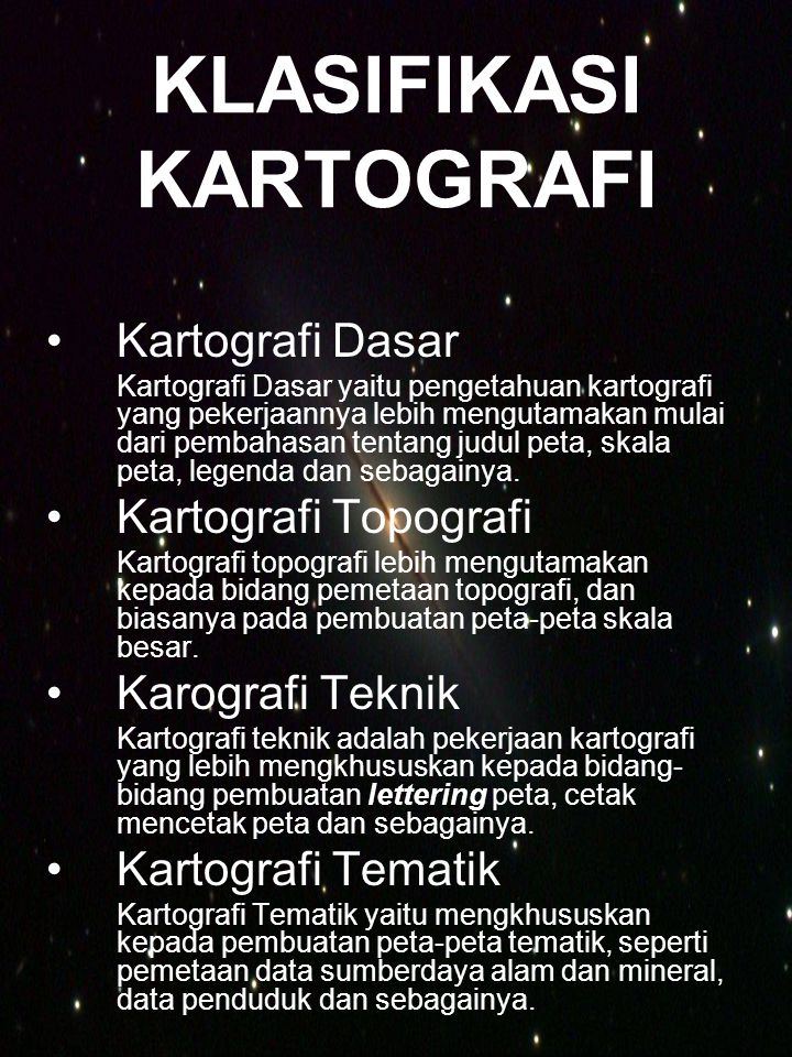 KLASIFIKASI KARTOGRAFI