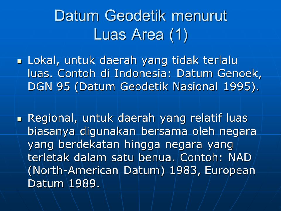 Datum Geodetik menurut Luas Area (1)