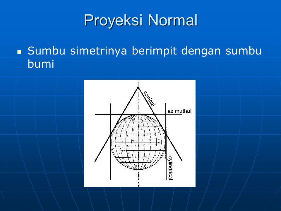 Proyeksi Normal Sumbu simetrinya berimpit dengan sumbu bumi