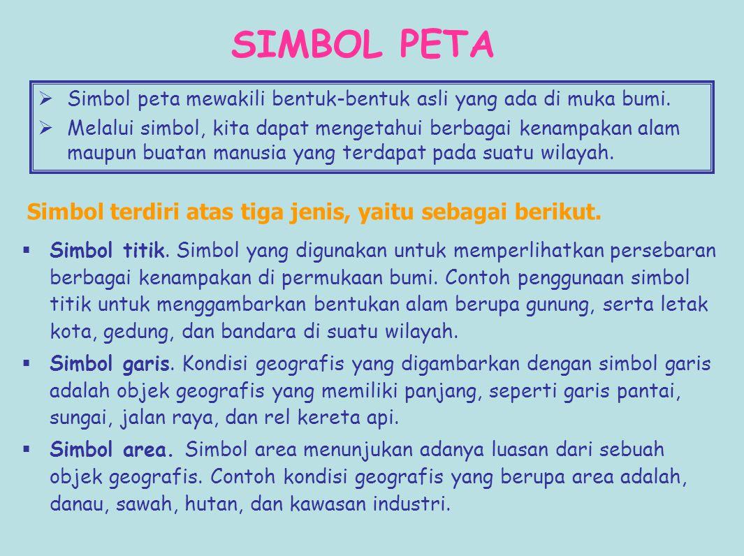 SIMBOL PETA Simbol terdiri atas tiga jenis, yaitu sebagai berikut.