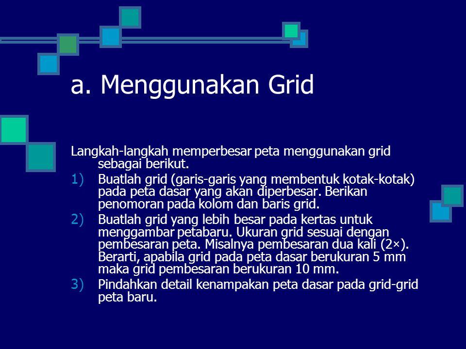 a. Menggunakan Grid Langkah-langkah memperbesar peta menggunakan grid sebagai berikut.