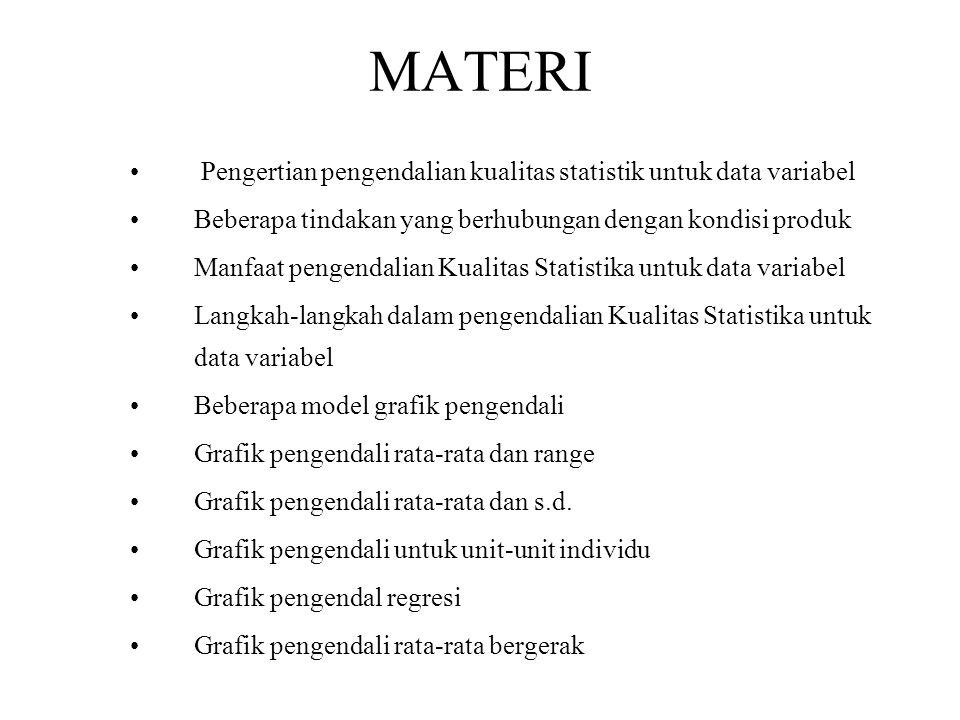 MATERI Pengertian pengendalian kualitas statistik untuk data variabel