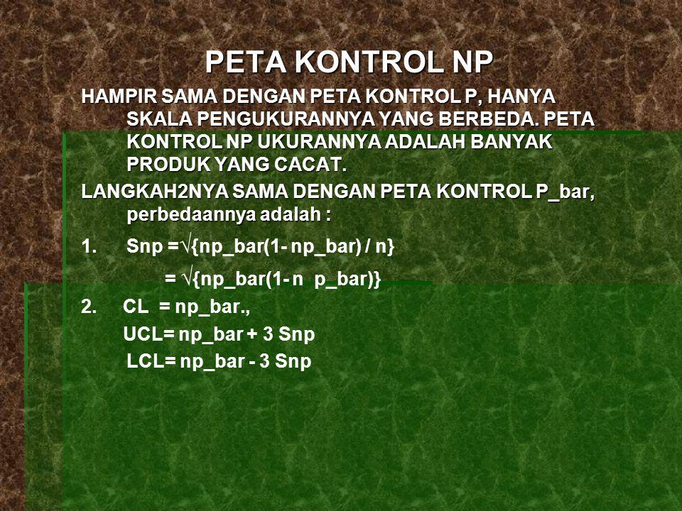 PETA KONTROL NP HAMPIR SAMA DENGAN PETA KONTROL P, HANYA SKALA PENGUKURANNYA YANG BERBEDA. PETA KONTROL NP UKURANNYA ADALAH BANYAK PRODUK YANG CACAT.