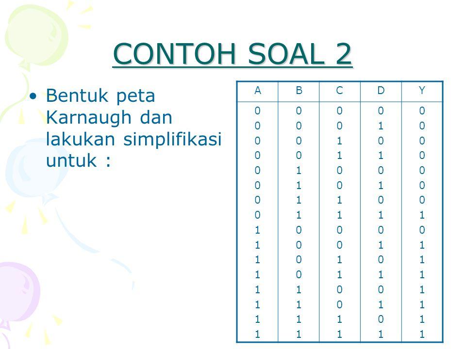 CONTOH SOAL 2 Bentuk peta Karnaugh dan lakukan simplifikasi untuk : A