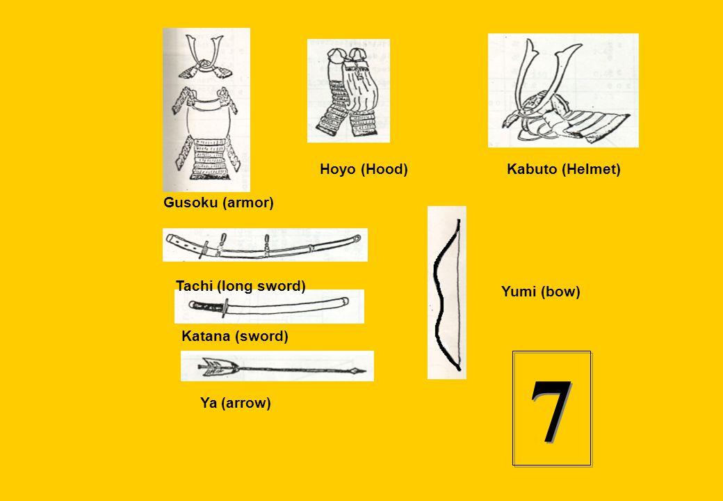 7 Hoyo (Hood) Kabuto (Helmet) Gusoku (armor) Tachi (long sword)