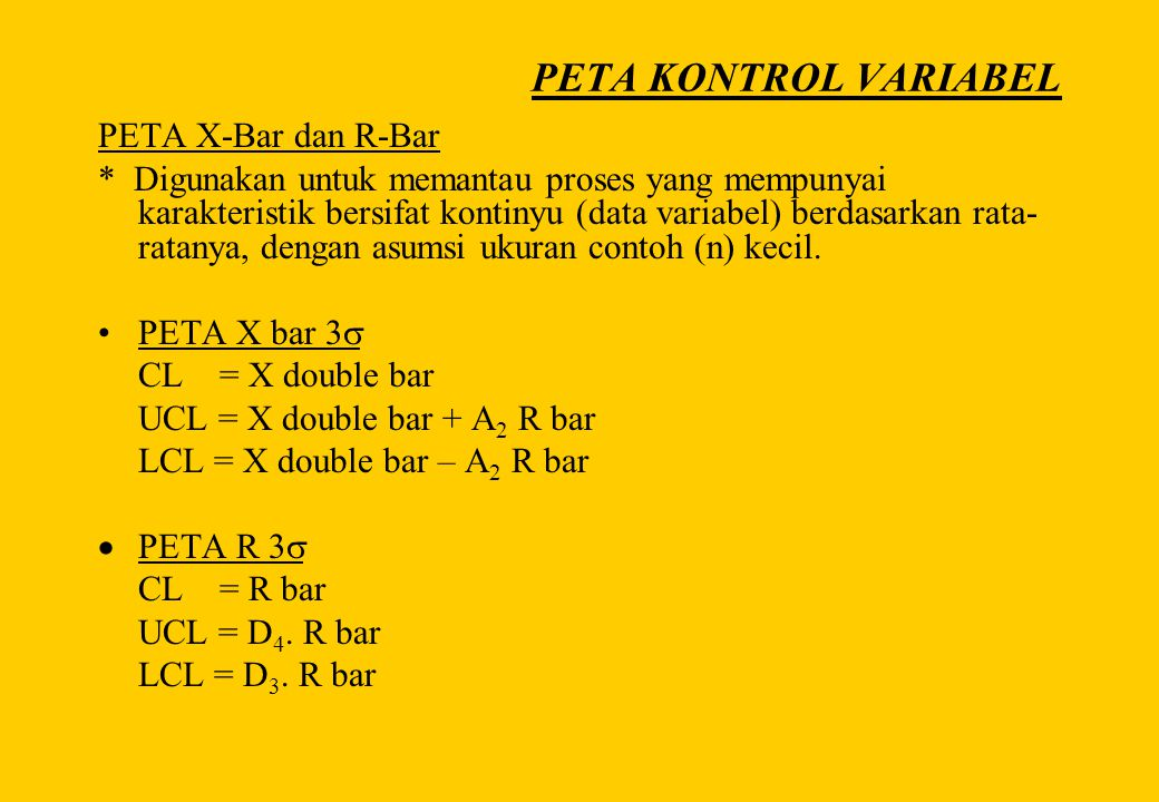 PETA KONTROL VARIABEL PETA X-Bar dan R-Bar