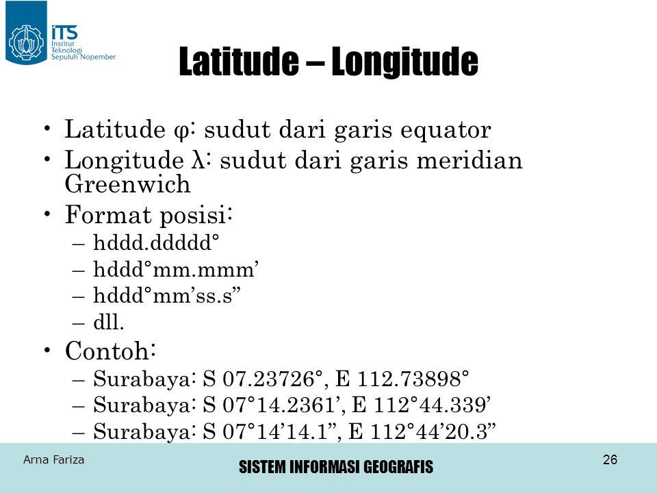 Latitude – Longitude Latitude φ: sudut dari garis equator