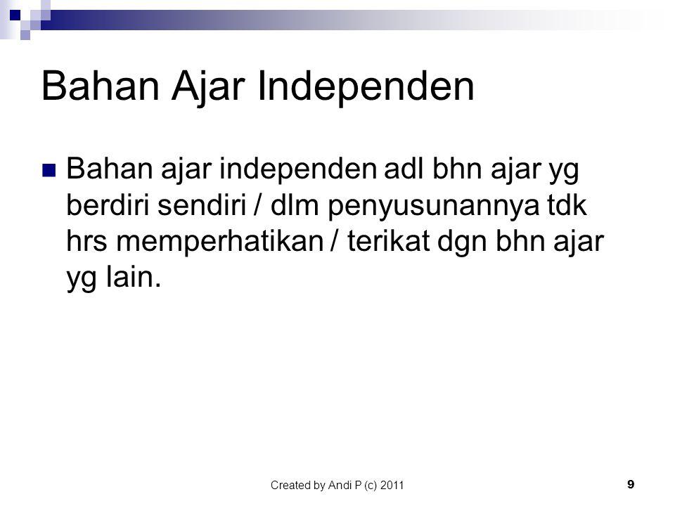 Bahan Ajar Independen Bahan ajar independen adl bhn ajar yg berdiri sendiri / dlm penyusunannya tdk hrs memperhatikan / terikat dgn bhn ajar yg lain.
