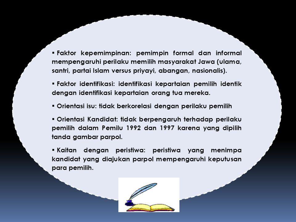 Faktor kepemimpinan: pemimpin formal dan informal mempengaruhi perilaku memilih masyarakat Jawa (ulama, santri, partai Islam versus priyayi, abangan, nasionalis).