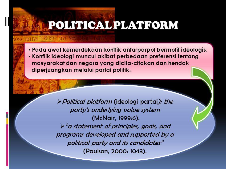 POLITICAL PLATFORM Pada awal kemerdekaan konflik antarparpol bermotif ideologis. Konflik ideologi muncul akibat perbedaan preferensi tentang.