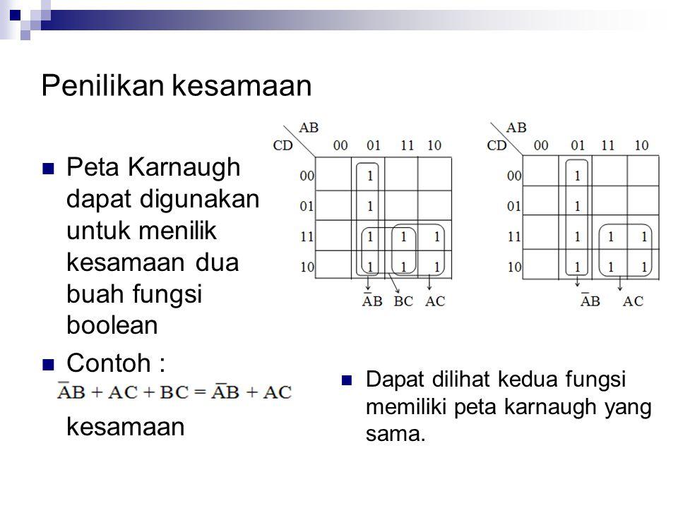 Penilikan kesamaan Peta Karnaugh dapat digunakan untuk menilik kesamaan dua buah fungsi boolean. Contoh : Buktikan kesamaan.