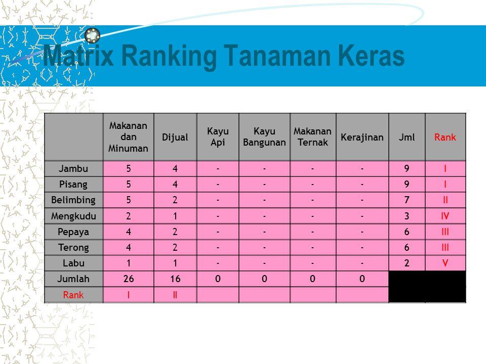 Matrix Ranking Tanaman Keras