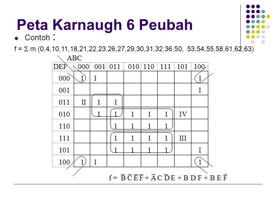 Peta Karnaugh 6 Peubah Contoh :
