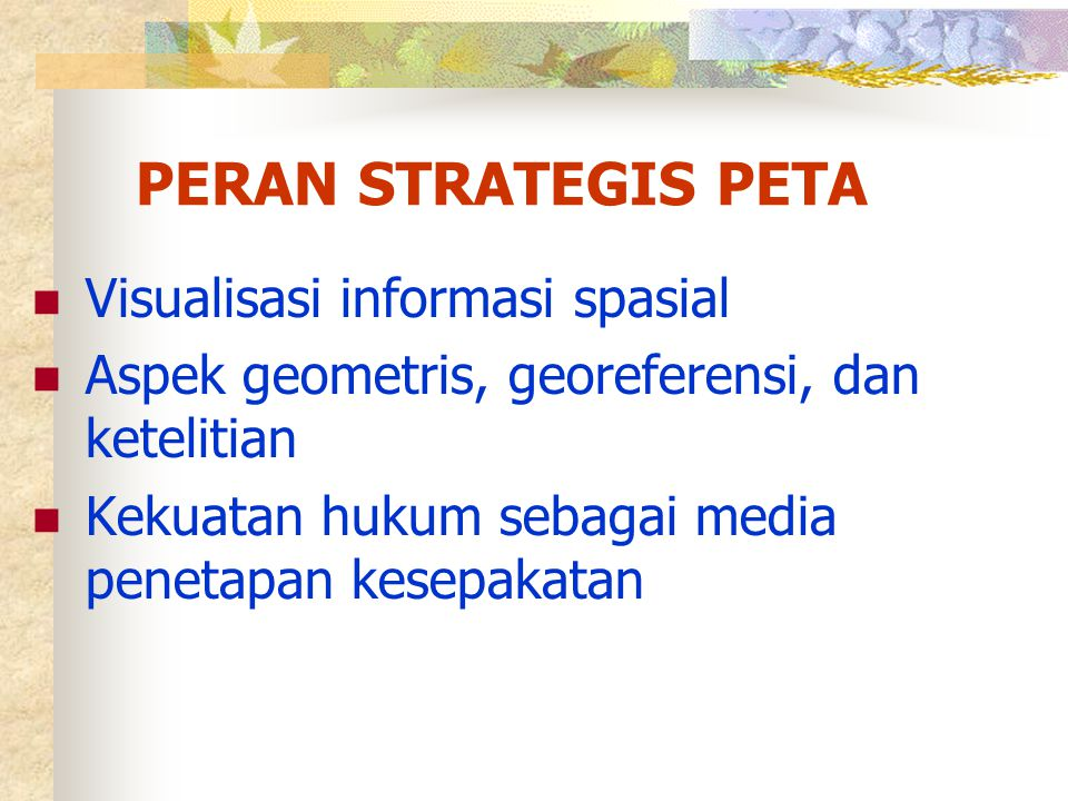 PERAN STRATEGIS PETA Visualisasi informasi spasial