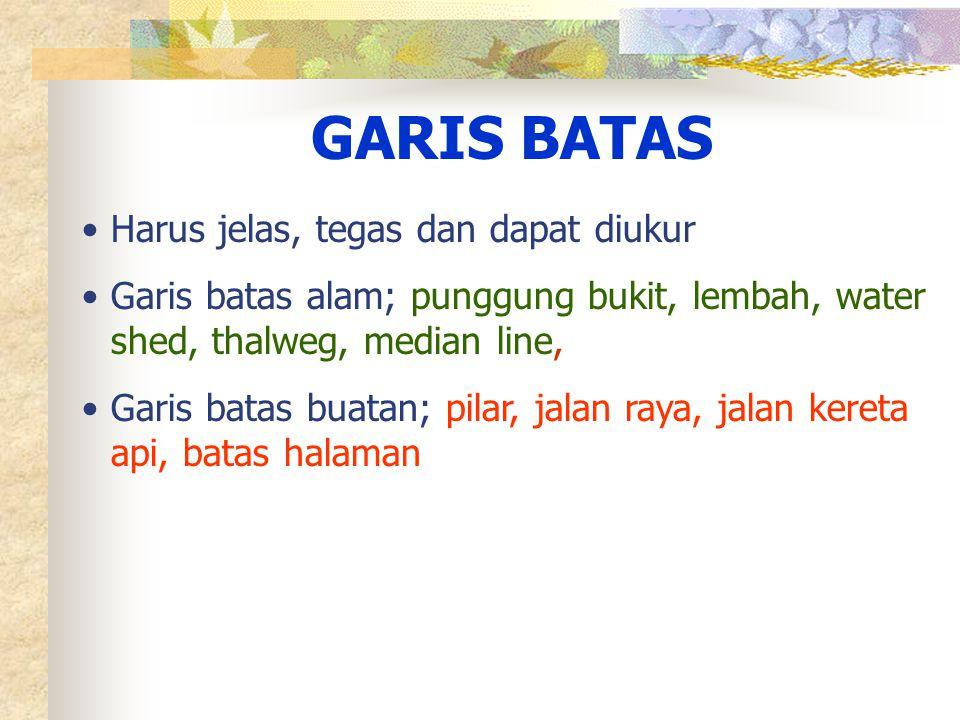 GARIS BATAS Harus jelas, tegas dan dapat diukur