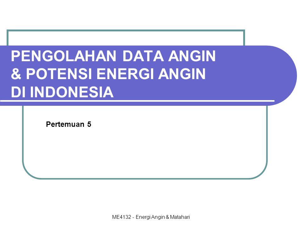 PENGOLAHAN DATA ANGIN & POTENSI ENERGI ANGIN DI INDONESIA
