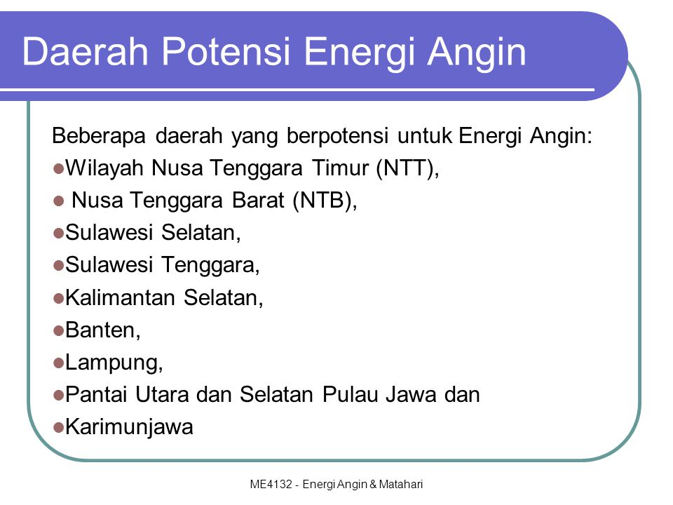 Daerah Potensi Energi Angin