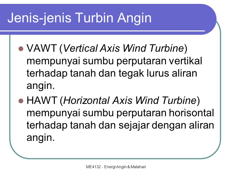 Jenis-jenis Turbin Angin