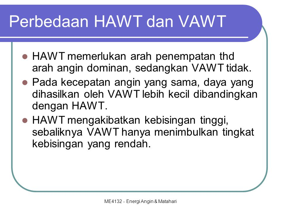 Perbedaan HAWT dan VAWT