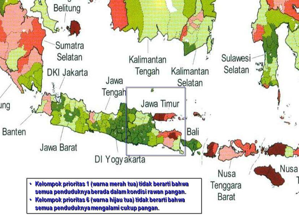 Kelompok prioritas 1 (warna merah tua) tidak berarti bahwa semua penduduknya berada dalam kondisi rawan pangan.