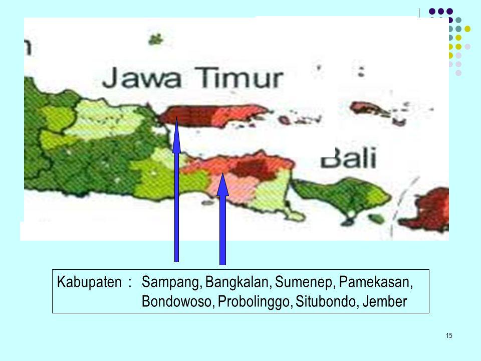 Kabupaten : Sampang, Bangkalan, Sumenep, Pamekasan, Bondowoso, Probolinggo, Situbondo, Jember