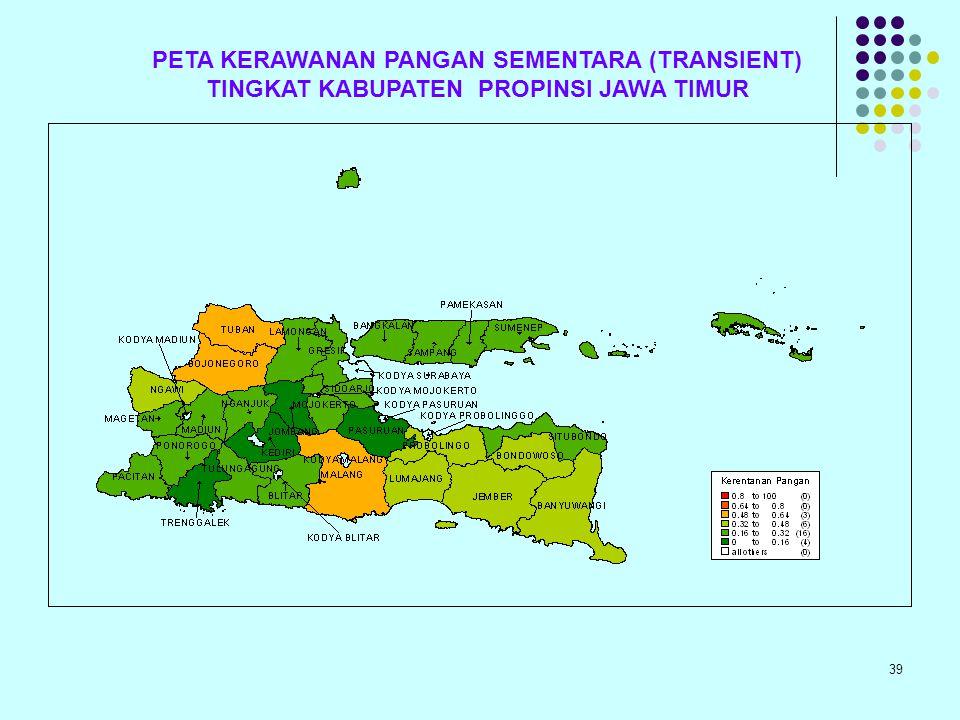 PETA KERAWANAN PANGAN SEMENTARA (TRANSIENT) TINGKAT KABUPATEN PROPINSI JAWA TIMUR