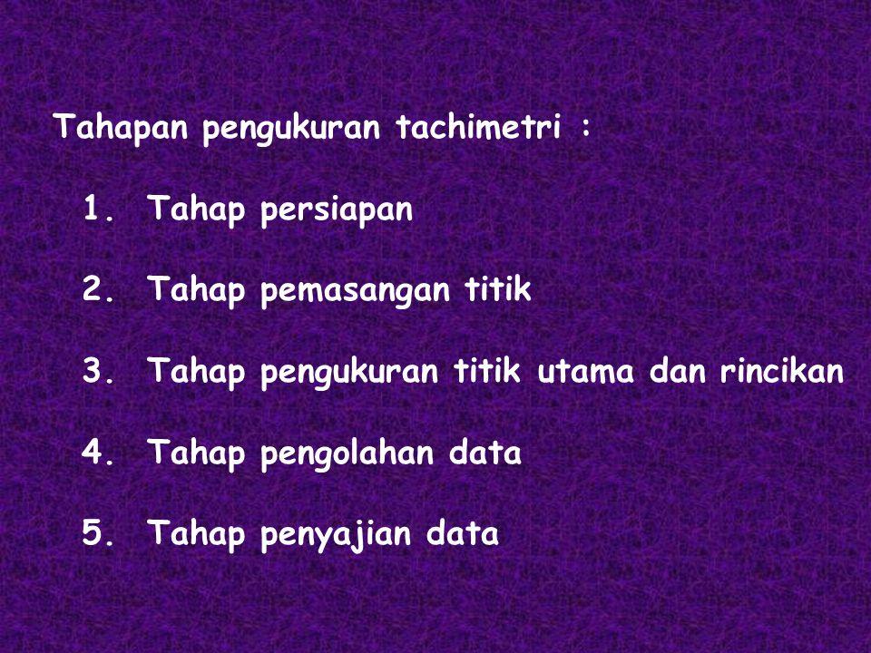 Tahapan pengukuran tachimetri :