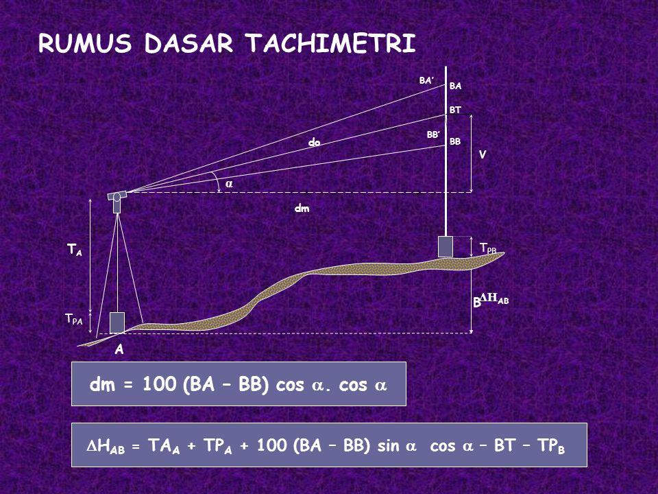 HAB = TAA + TPA + 100 (BA – BB) sin  cos  – BT – TPB
