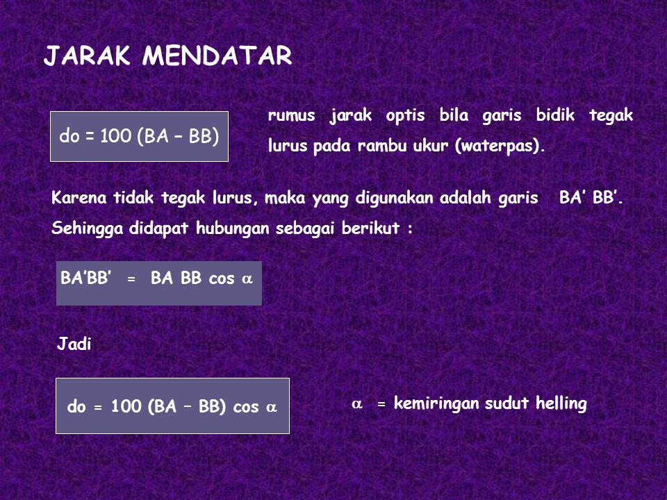 JARAK MENDATAR do = 100 (BA – BB)