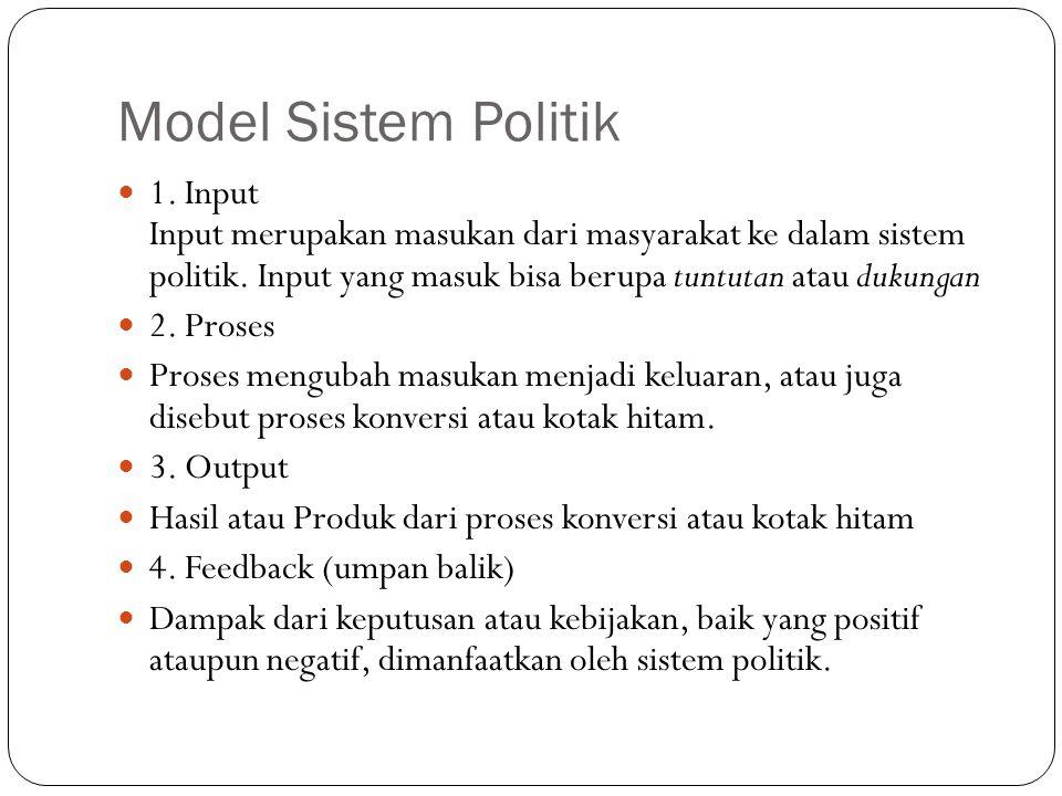Model Sistem Politik 1. Input Input merupakan masukan dari masyarakat ke dalam sistem politik. Input yang masuk bisa berupa tuntutan atau dukungan.