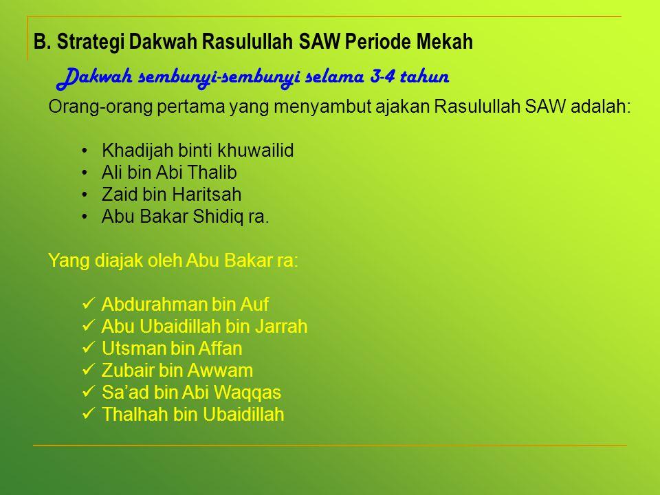 B. Strategi Dakwah Rasulullah SAW Periode Mekah