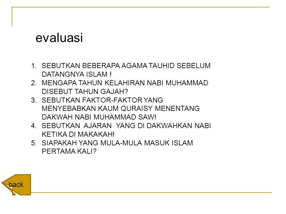 evaluasi SEBUTKAN BEBERAPA AGAMA TAUHID SEBELUM DATANGNYA ISLAM !
