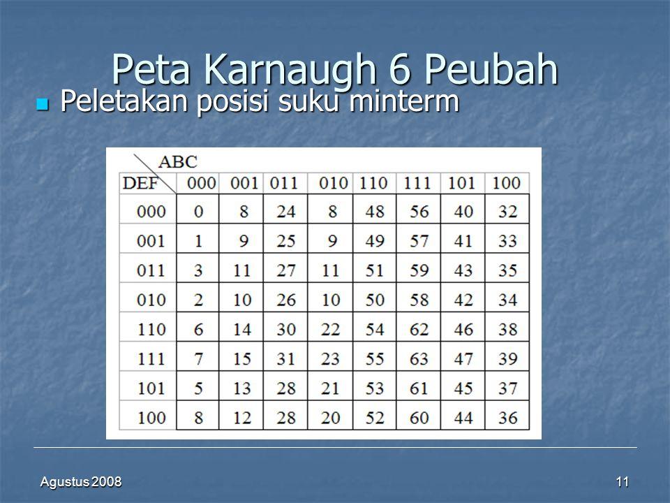 Peta Karnaugh 6 Peubah Peletakan posisi suku minterm Agustus 2008