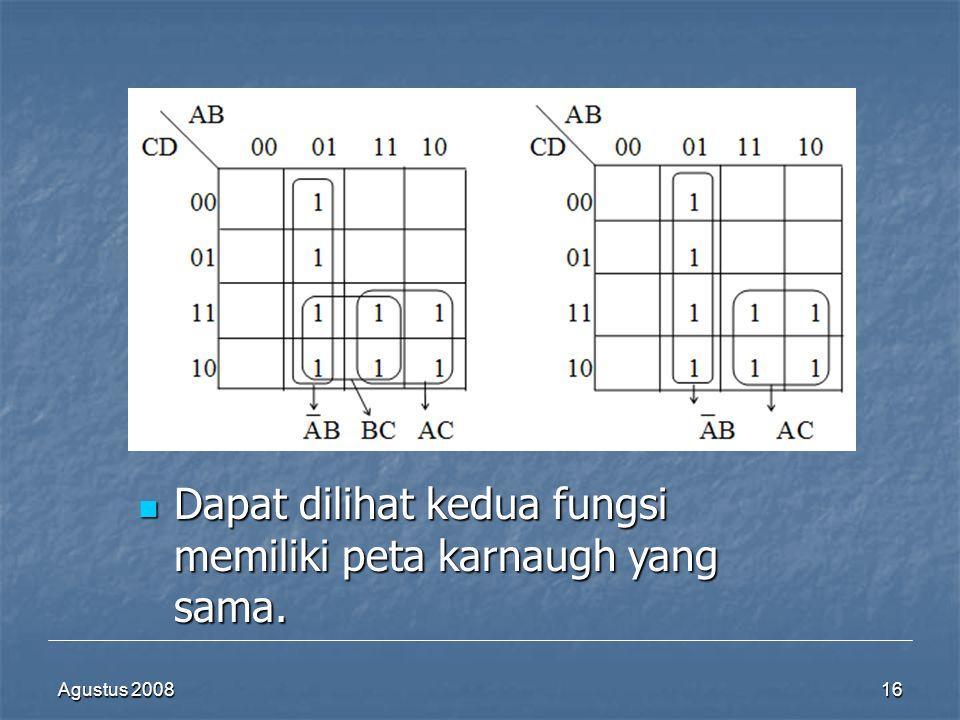 Dapat dilihat kedua fungsi memiliki peta karnaugh yang sama.