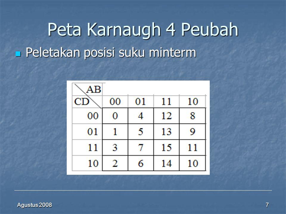 Peta Karnaugh 4 Peubah Peletakan posisi suku minterm Agustus 2008
